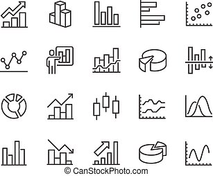 Line Graph Icons - Simple Set of Graph Related Vector Line...