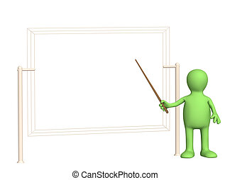 Presentation - 3d puppet - businessman with pick. Objects...