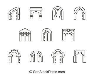 Arches black line vector icons set - Different types and...