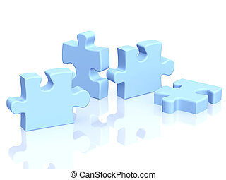 Four parts of a puzzle Objects over white