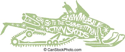 Typography lettering snowmobile - Typography monochrome...