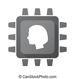 Isolated CPU chip icon with a female head - Illustration of...