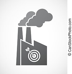 Isolated factory icon with a dart board - Illustration of an...
