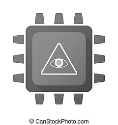 Isolated CPU chip icon with an all seeing eye - Illustration...