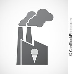 Isolated factory icon with a cone ice cream