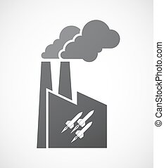 Isolated factory icon with missiles - Illustration of an...