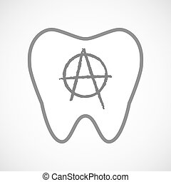Isolated line art tooth icon with an anarchy sign -...