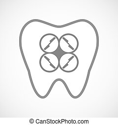 Isolated line art tooth icon with a drone - Illustration of...