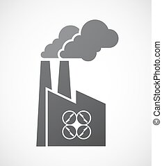 Isolated factory icon with a drone - Illustration of an...