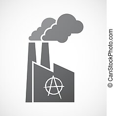 Isolated factory icon with an anarchy sign - Illustration of...