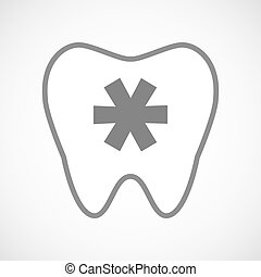 Isolated line art tooth icon with an asterisk - Illustration...