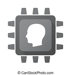 Isolated CPU chip icon with a male head - Illustration of an...