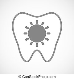 Isolated line art tooth icon with a sun