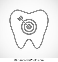 Isolated line art tooth icon with a dart board -...