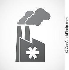 Isolated factory icon with an asterisk - Illustration of an...