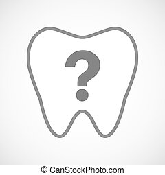 Isolated line art tooth icon with a question sign
