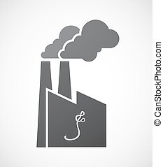Isolated factory icon with an ebola sign - Illustration of...