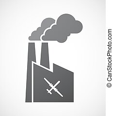 Isolated factory icon with a war drone - Illustration of an...