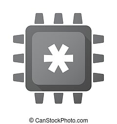 Isolated CPU chip icon with an asterisk - Illustration of an...