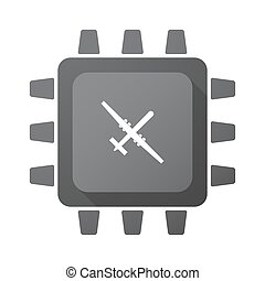 Isolated CPU chip icon with a war drone - Illustration of an...