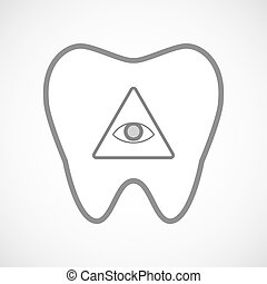 Isolated line art tooth icon with an all seeing eye -...