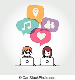 Social Media chat people with computers vector illustration