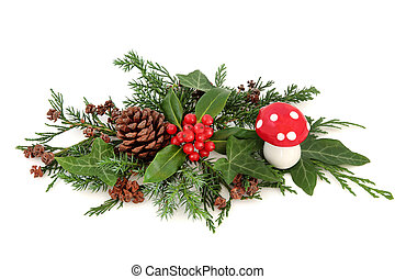 Festive Winter Decoration - Winter floral decoration with...