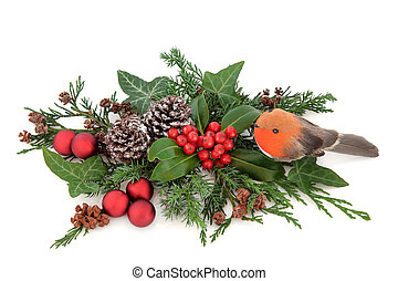 Seasons Greetings - Christmas floral decoration with robin...