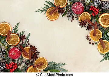 Christmas Spice Fruit and Floral Border - Christmas abstract...
