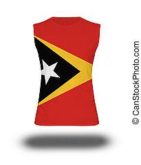 athletic sleeveless shirt with Timor-Leste flag on white...
