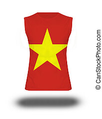 athletic sleeveless shirt with Vietnam flag on white...