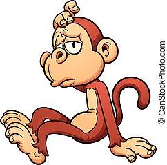 Lazy monkey - Lazy cartoon monkey Vector clip art...