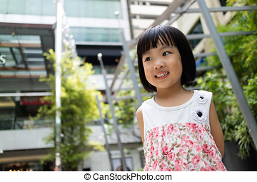 Asian Chinese little girl smiling