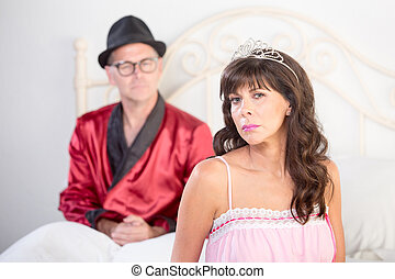 Princess and Playboy Portrait in Bed - Retro style snooty...