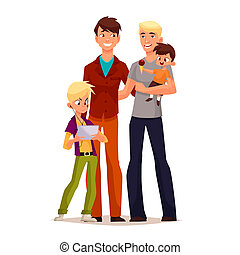 family gay men with children, illustration comic cartoon...