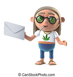 3d Hippie stoner has mail - 3d render of a hippie stoner...