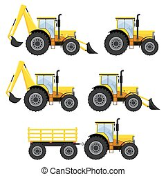 Set of vehicles and tractors. - Set of construction vehicles...
