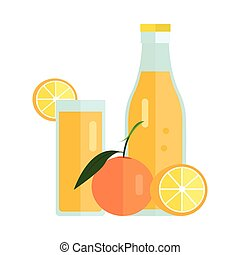 Orange Juice Concept Vector Illustration.