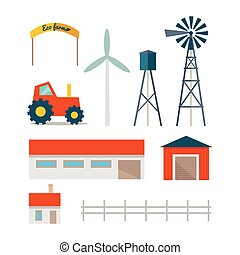 Eco Farm Conceptual Vector in Flat Style Design. - Set of...