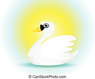 elegance swan cartoon swiming under the sun