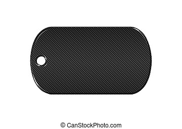 black carbon fiber dog tag on isolated white background. 3d...