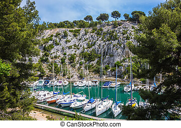 The sailboats moored in Calanque - Calanque National Park -...