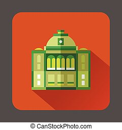 The building with the dome icon, flat style - icon in flat...