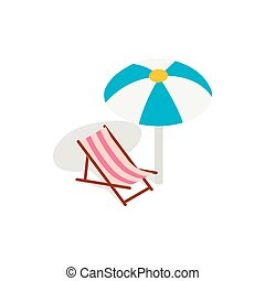 Beach chaise lounge with umbrella icon in isometric 3d style...