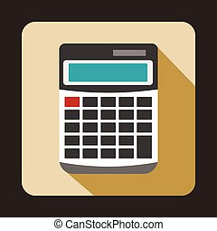 Calculator icon in flat style - icon in flat style on a...