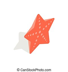 Red starfish icon, isometric 3d style - icon in isometric 3d...
