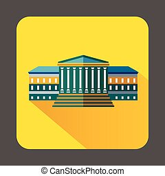 Government building with columns icon - icon in flat style...