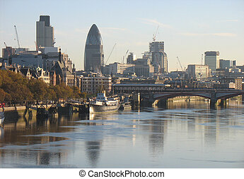 London skyline - View of the river thames and London\'s...