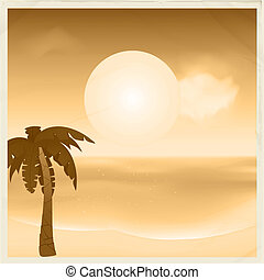 Vintage sepia tropical card - Sepia Vintage Tropical Scene...