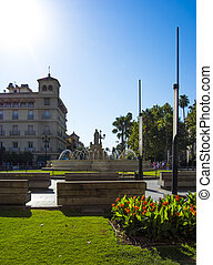 View of the Square called Puerta de Jerez with the monument...